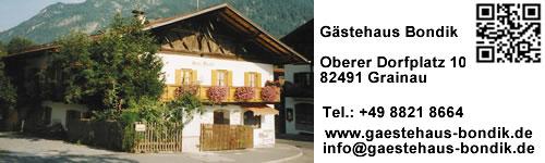 Gästehaus Bondik im Zugspitzdorf Grainau